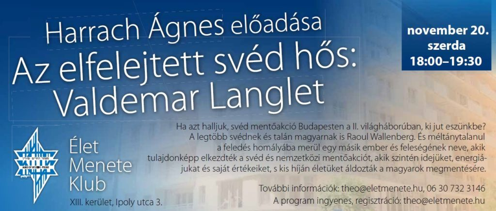 Harrach Ágnes előadása Langlet Valdemarról az Élet Menete Klubban
