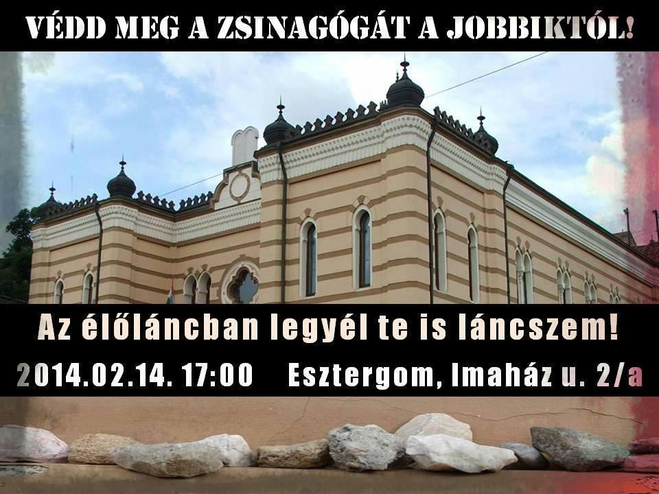 Élőlánc az esztergomi zsinagógánál a Jobbik ellen