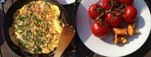 Tárkonyos omlett rókagombával
