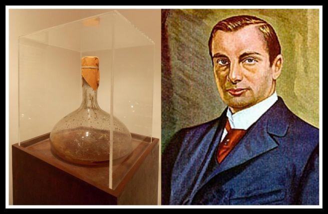 Haffkine és speciális flaskája, amelyet a pestis elleni szérum feltalálása során fejlesztett ki
