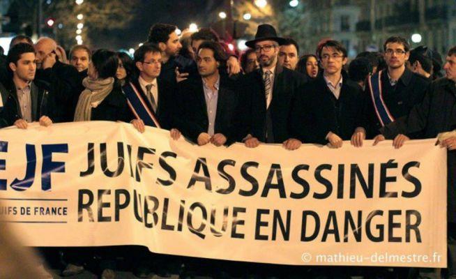 Egy 2013-as tüntetés Franciaországban az antiszemitizmus ellen
