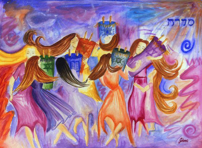 Woman dancing with Torah