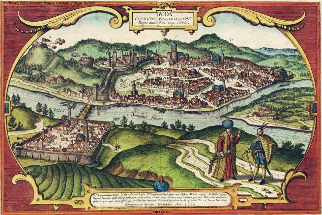 Buda és Pest látképe a 17. században