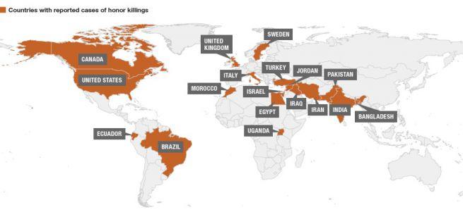 becsületgyilkosságok világszerte