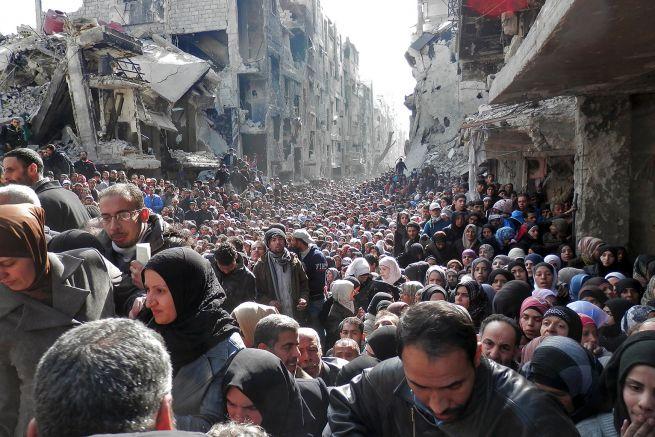 A jarmuki menekülttábor Damaszkuszban