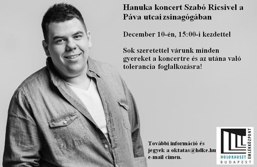 Szabó Ricsi Hanukai koncertje a Páva utcai zsinagógában