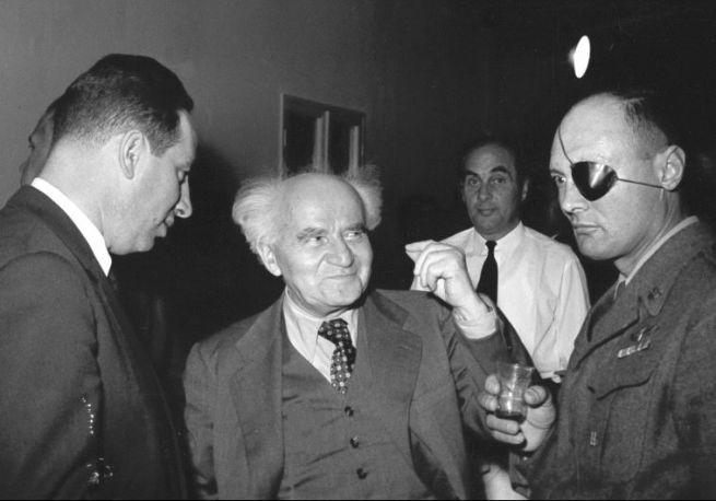 Peresz, David Ben Gurion és Mose Dáján