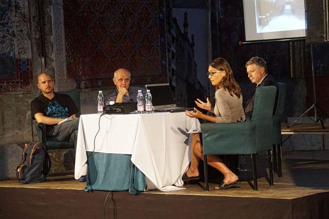 Borgula András, György Péter, Toronyi Zsuzsanna és Gunther Zsolt a fórumon (Fotó: Szentgyörgyi Ákos)