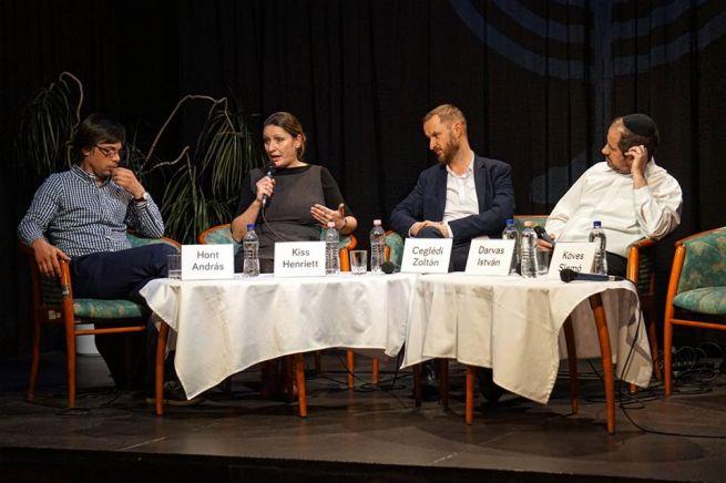 Hont András, Kiss Henriett, Ceglédi Zoltán és Darvas István rabbi (Fotó: Szentgyörgyi Ákos)