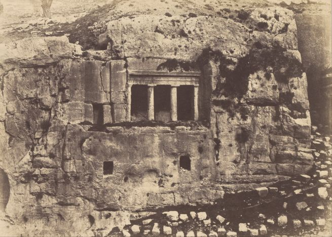 Fotó: Auguste Salzmann: Jozafát völgye. Szent Jakab síremléke, 1854