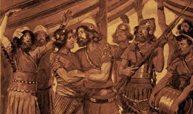 Dávid és Jonatán James Tissot illusztrációján