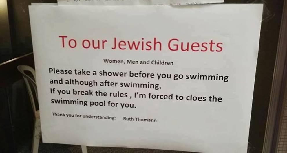Zuhanyozni küldték a zsidókat egy svájci szállodában