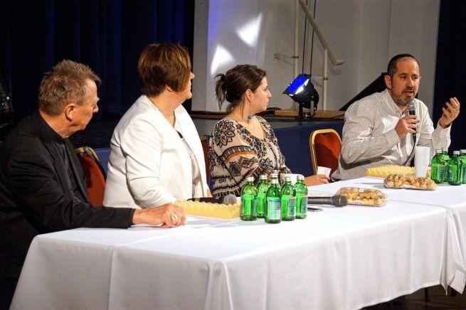 Beer Miklós, Élő Anita, Bolba Márta és Darvas István a Goldmark teremben (Fotó: Szentgyörgyi Ákos/facebook.com/mazsihisz)