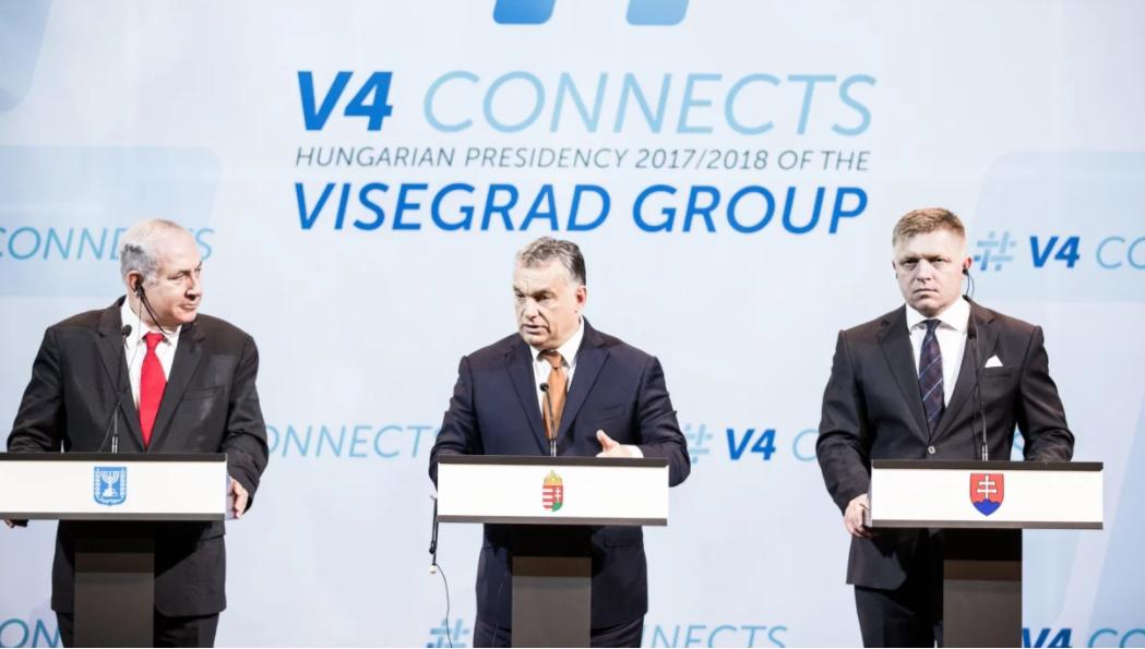 Netanjahu, Orbán és Fico a budapesti V4 találkozón 2017-ben