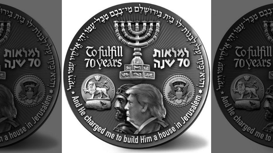 Trumpot ábrázoló érmét adott ki egy izraeli szervezet