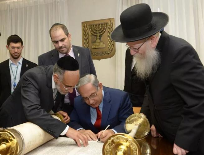 Netanjahu a chábád mozgalom képviselőivel