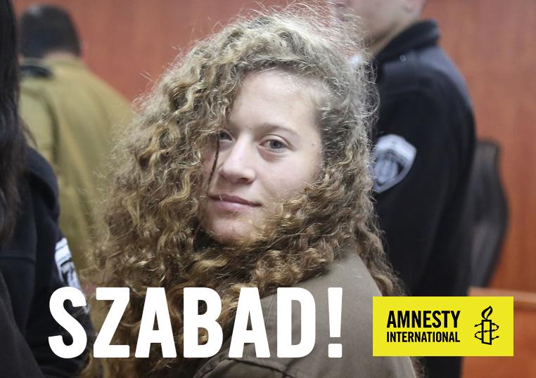 Az Amnesty Magyarország a Facebookon üdvözli Ahed Tamimi szabadulását