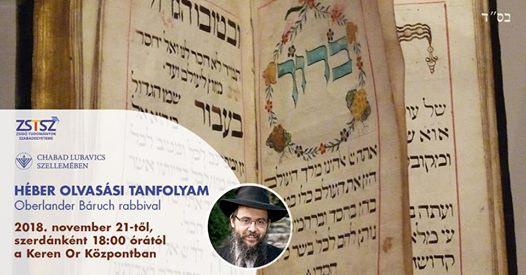 Héber olvasási tanfolyam Oberlander Báruch rabbival