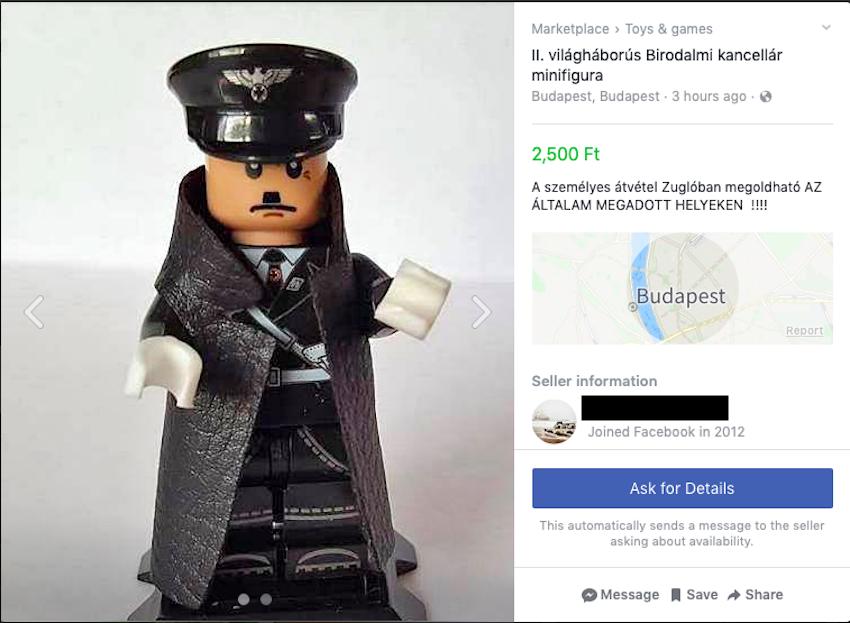 Már 2500 forintért lehet Hitler Lego-figurát vásárolni a Facebookon