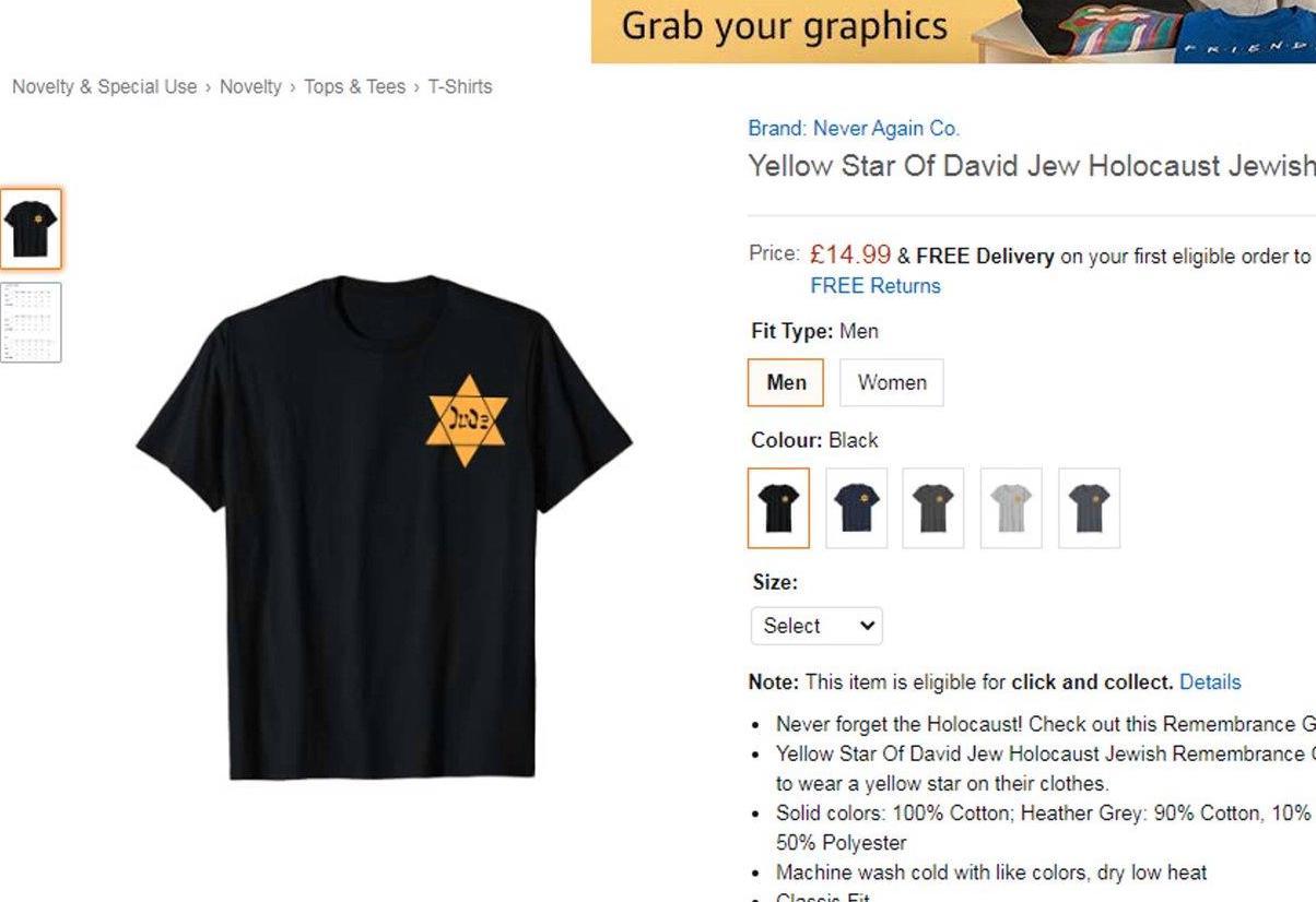 Sárga-csillagos pólókat árultak az Amazonon