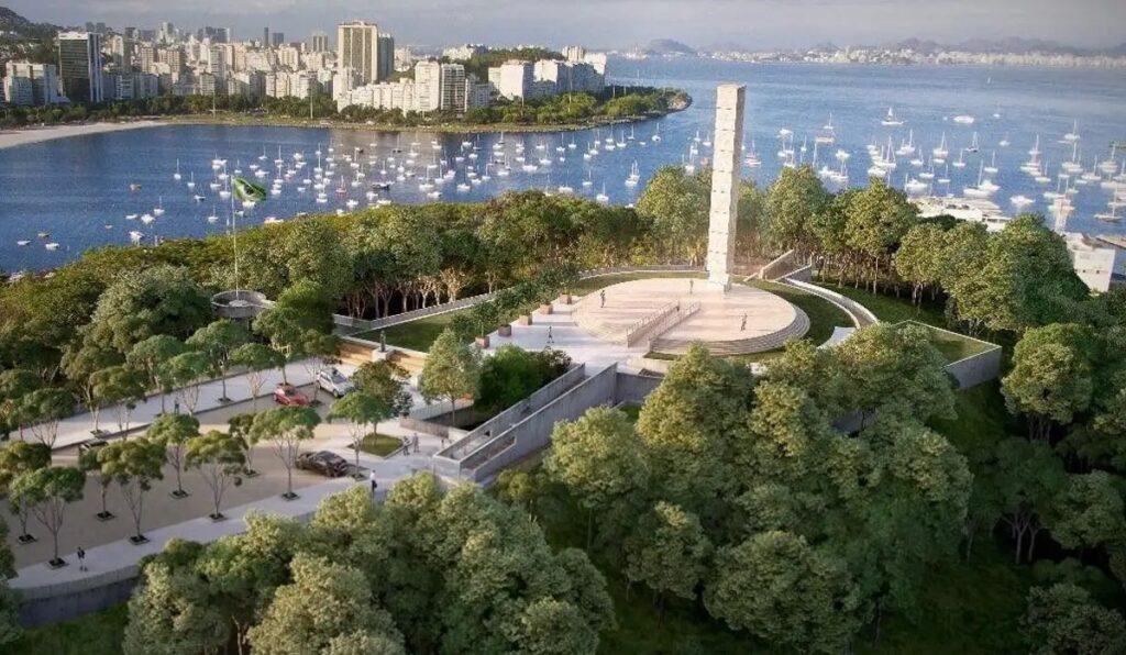 A Cukorsüveg-hegyre néz Rio 20 méter magas holokauszt-emlékműve