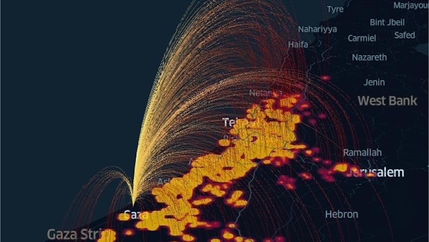 Látványos infografika mutatja meg a Gázából Izraelre kilőtt rakétazápor súlyosságát