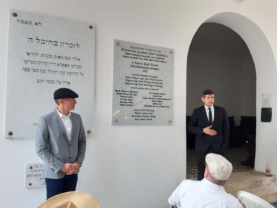 Emléktáblát avattak a holokauszt áldozatainak tiszteletére Sopronban